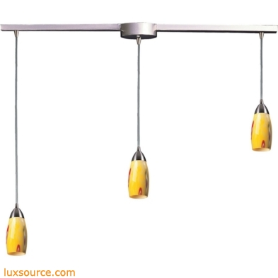 Milan 3 Light Pendant In Satin Nickel And Yellow Blaze Glass 110-3L-YW