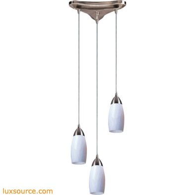 Milan 3 Light Pendant In Satin Nickel And Yellow Glass 110-3YW