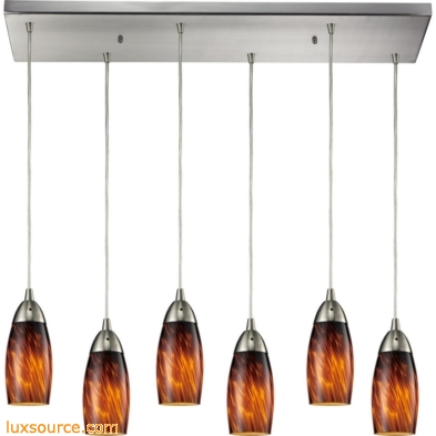 Milan 6 Light Pendant In Satin Nickel And Espresso Glass 110-6RC-ES