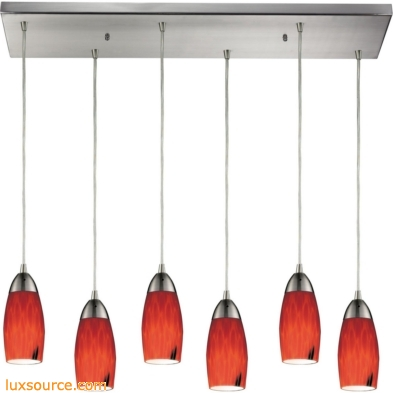 Milan 6 Light Pendant In Satin Nickel And Fire Red Glass 110-6RC-FR