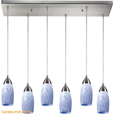 Milan 6 Light Pendant In Satin Nickel And Snow White Glass 110-6RC-SW