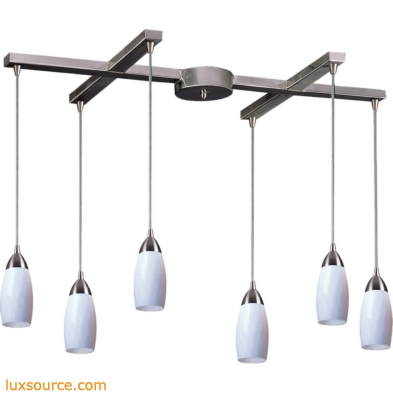 Milan 6 Light Pendant In Satin Nickel And Simply White Glass 110-6WH