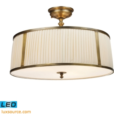 Williamsport 4 Light LED Semi Flush In Vintage Brass Patina