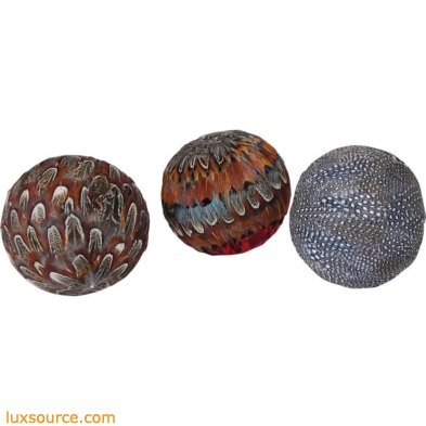 Plume Set of 3 Decorative 4-Inch Spheres