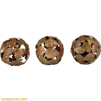 Leaf Decorative 4-Inch Spheres - Set of 3