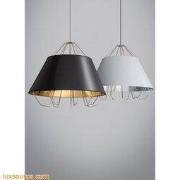Artic Grande Pendant - Gloss White/Gold Shade - Black Cord - LED