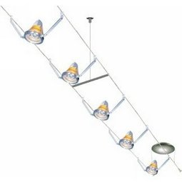 30 Foot 300 Watt Cable Kit (Flexible Supports / satin nickel) with 8 K-Bye-Bye Heads with Amber Shade