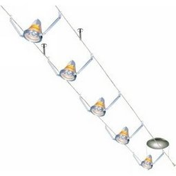 30 Foot 300 Watt Cable Kit (Stem Supports / satin nickel) with 8 K-Bye-Bye Heads with Amber Shade