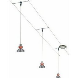 12 Foot 150 Watt Cable Kit with 3 Red Accent Hanging Wok Pendants